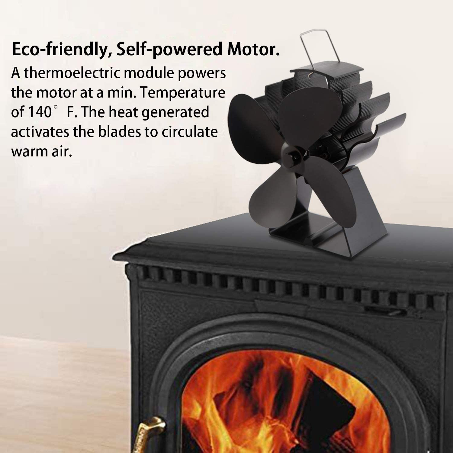 Wood Stove Fan Heat Powered Fireplace Fan Non Electric for Log Burner