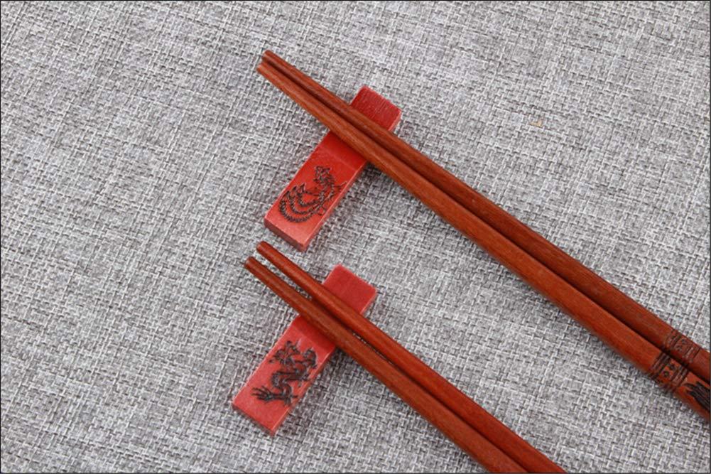 2 Paar Qiutianchen Essst/äbchen aus Holz Essst/äbchen Geschenk Box Set Drache und Ph/önix schnitzen ,Wiederverwendbare Klassische Art ,mit Halter