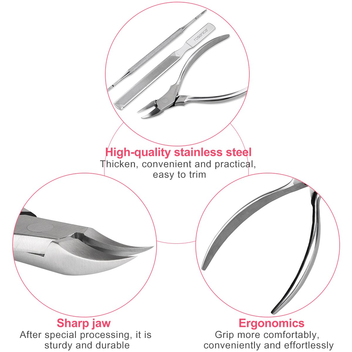 Toenail clippers rosenice nail clippers for thick ingrown toenail clippers rosenice nail clippers for thick ingrown toenails stainless steel 3pcs amazon beauty pooptronica