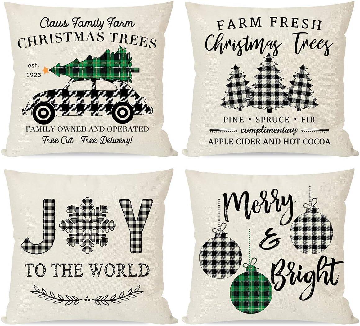 PANDICORN Buffalo Plaid Christmas Pillow Covers 18x18 Set of 4, Farmhouse Christmas Throw Pillows Cases for Home Outdoor Christmas Decorations, Buffalo Check Christmas Decor Trees Truck Ornaments
