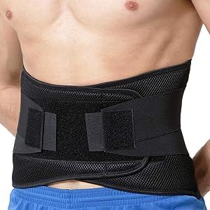 NeoTech Care Adjustable Compression Back Brace Lumbar Support Belt, Black, Size L