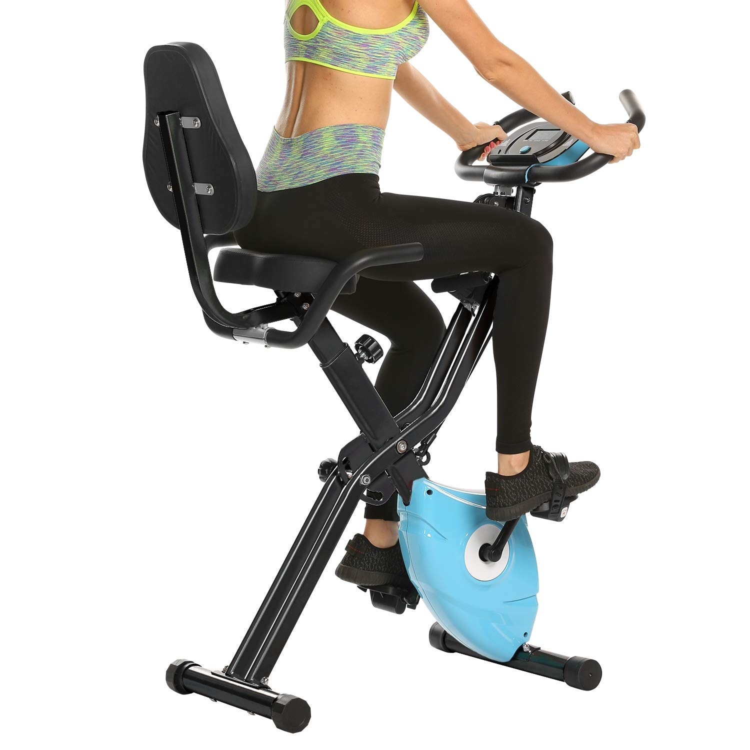 ANCHEER 2 in1 Folding Exercise Bike, Slim Cycle Indoor Stationary Bike with 10-Level Adjustable Magnetic Resistance and Arm Training Bands (Blue) by ANCHEER (Image #6)