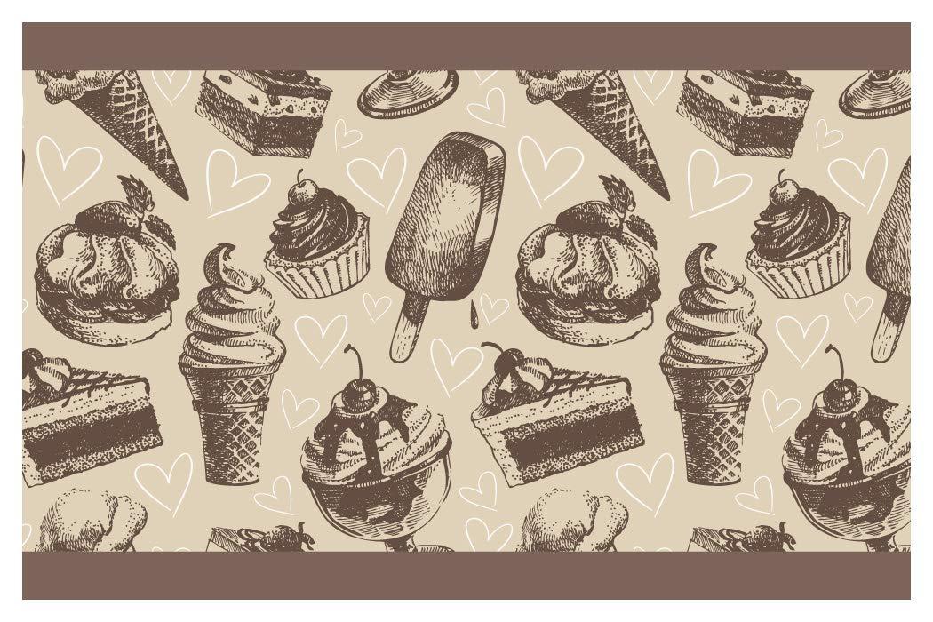 I-love-Wandtattoo b-10124 Bordo decorativo adesivo da parete, motivo dessert, Torta di ghiaccio Cupcake confine cucina decorazione,5m