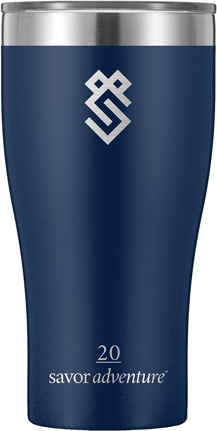 Summit Outdoor 20 oz Double Walled Vacuum Insulated Stainless Steel Travel Tumbler with BPA Free Lid, Use as a Coffee Mug, Pilsner Beer Glass, Iced Tea or Water Cup, For Men or Women (20oz, Navy)