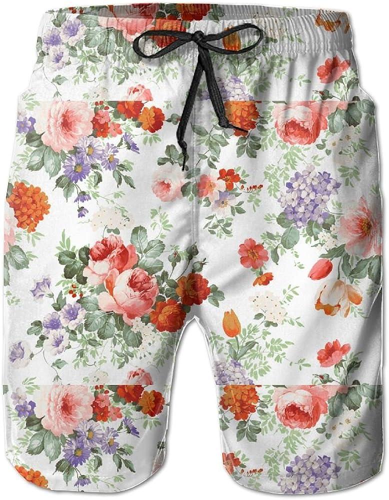 Mens Open A Hundred Flowers Quick Drying Breathable Short Pants Swim Trunks