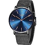 LIGE Relojes Hombre Negro Ultrafino Impermeable Acero Inoxidable Reloj Moda Simple Reloj Hombre Negocios Analógico…