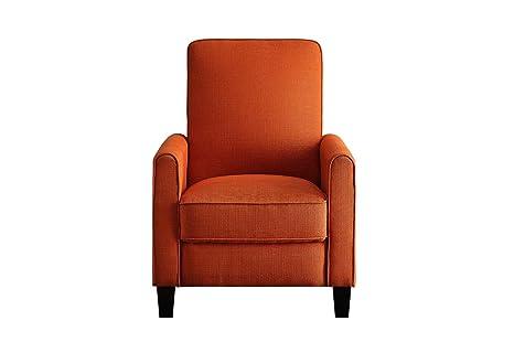 Gentil Benzara BM180221 Push Back Recliner Chair Fabric Upholstery, Orange