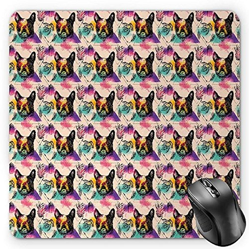 60s Crystal - BGLKCS Dog Lover Mouse Pad, Colorful Crystals Pattern Triangles Sixties Inspired Psychedelic Boston Terrier, Standard Size Rectangle Non-Slip Rubber Mousepad, Multicolor