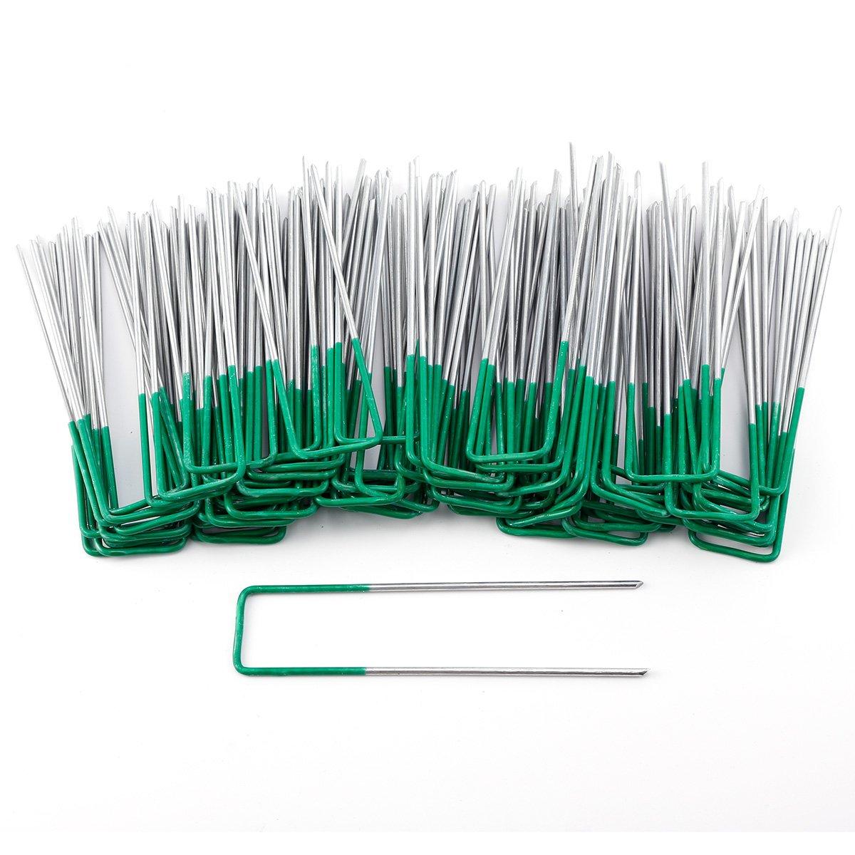 Anladia 50 100/pcs 15,2/cm//150/mm en Forme de U Multi-Purpose Piquets de Fixation de Jardin en Acier Mauvaises Herbes Tissu Filet