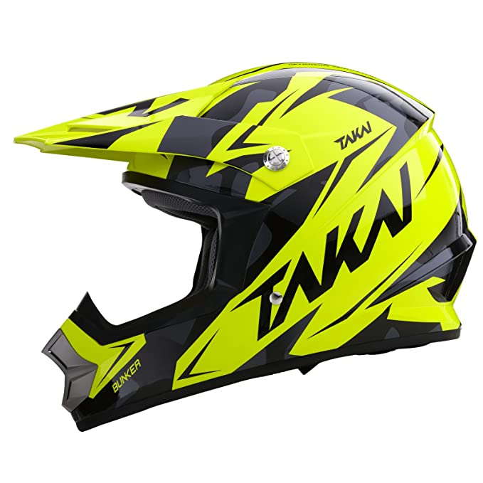 Takai MXS Bunker Cross Casco – Casco de Moto negro/amarillo extra-large