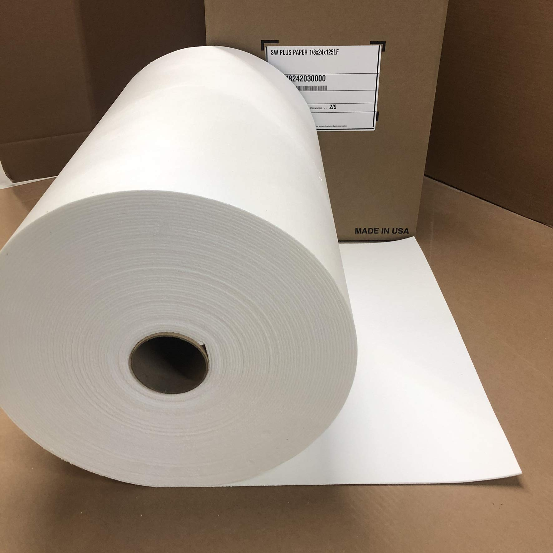 Lynn Manufacturing 1/8'' Thick Superwool Plus Paper, Morgan Thermal Ceramics, 2000F Rated, 24'' Wide, 125 Ft. Long by Lynn Manufacturing