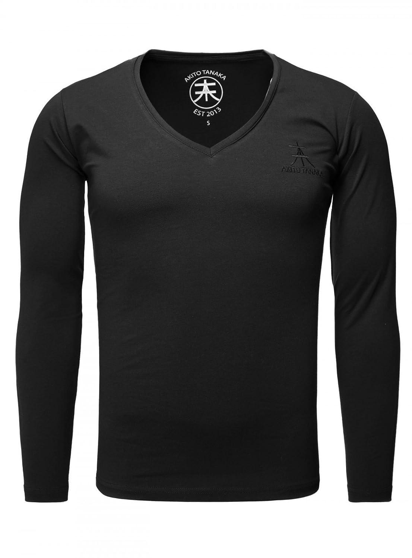 Akito Tanaka Herren Longsleeve Basic v-Neck Uni Langarm T-Shirt mit Tiefem V-Ausschnitt Einfarbig Slimfit