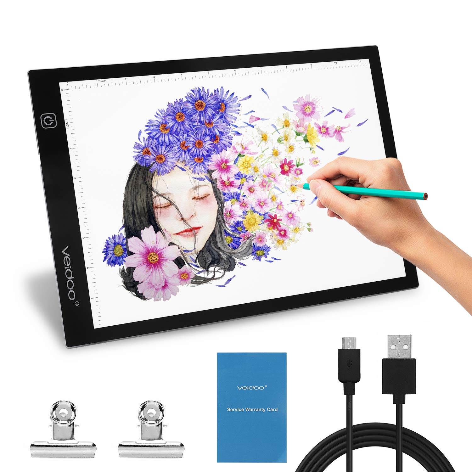 Tracing Light Box, Veidoo A4 LED Tracer Light Pad/Box/Board for Artists, Drawing, Sketching, Animation, X-ray Viewing, Tattoo Transferring by Veidoo