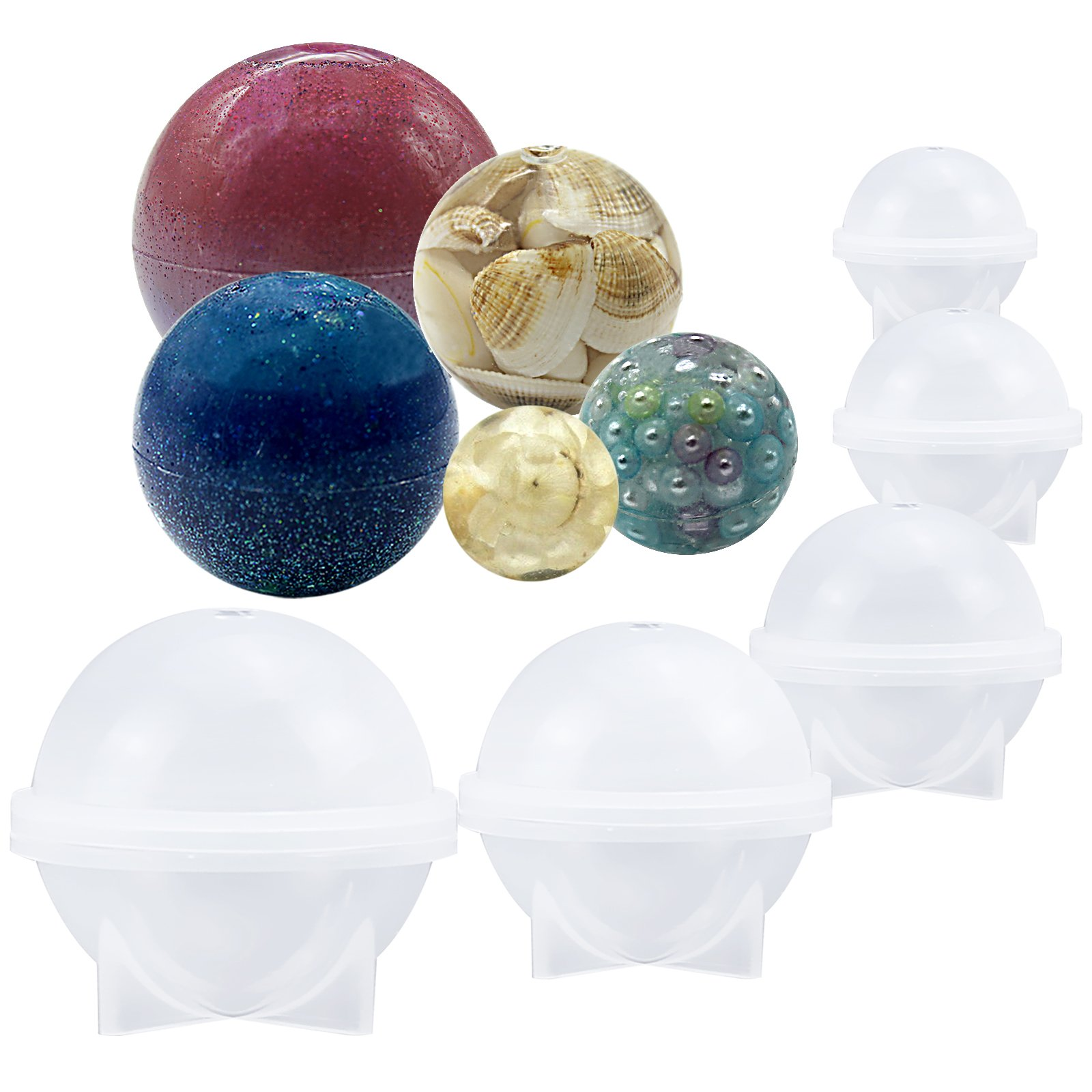Funshowcase Sphere Round Silicone Mold for Resin Epoxy, Jewelry Making, Candle Wax, Homemade Soap, Bath Bomb 5-Piece Set