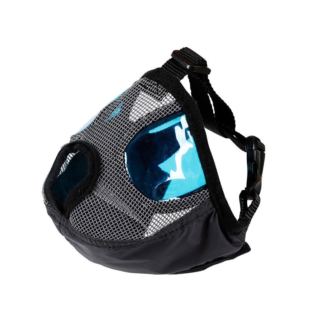 EJG Short Snout Dog Muzzle Puppy Nylon Mask Adjustable Pet Mouth Cover (S, Gray)