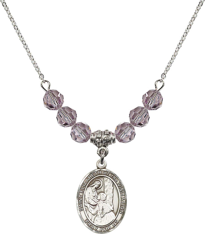 Bonyak Jewelry 18 Inch Rhodium Plated Necklace w// 6mm Light Purple February Birth Month Stone Beads /& Saint Elizabeth of The Visitation
