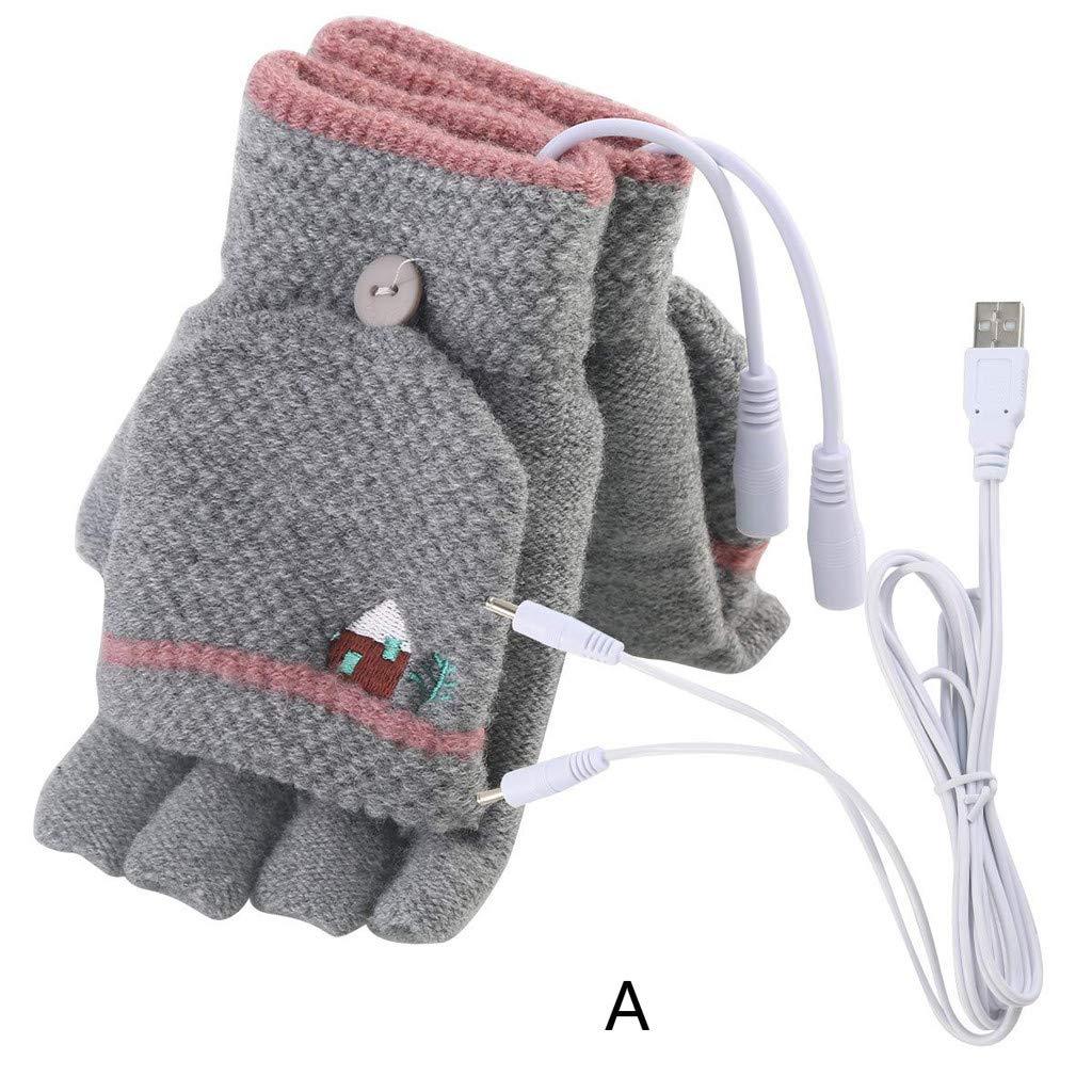MuSheng(TM) Gants - Ordinateur portable Femmes Hommes USB Mitaines chauffantes Gants tricotés à la main Full & Half Finger Winter Warm (C)