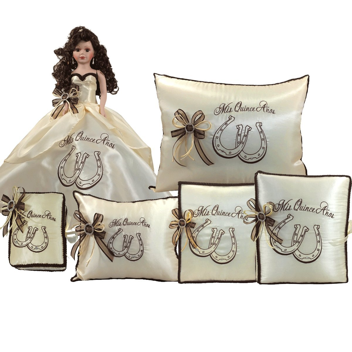 Quinceanera Complete Set Doll Guest Book Kneeling Tiara Pillow Photo Album Bible Q1057 (Basic set + English bible)