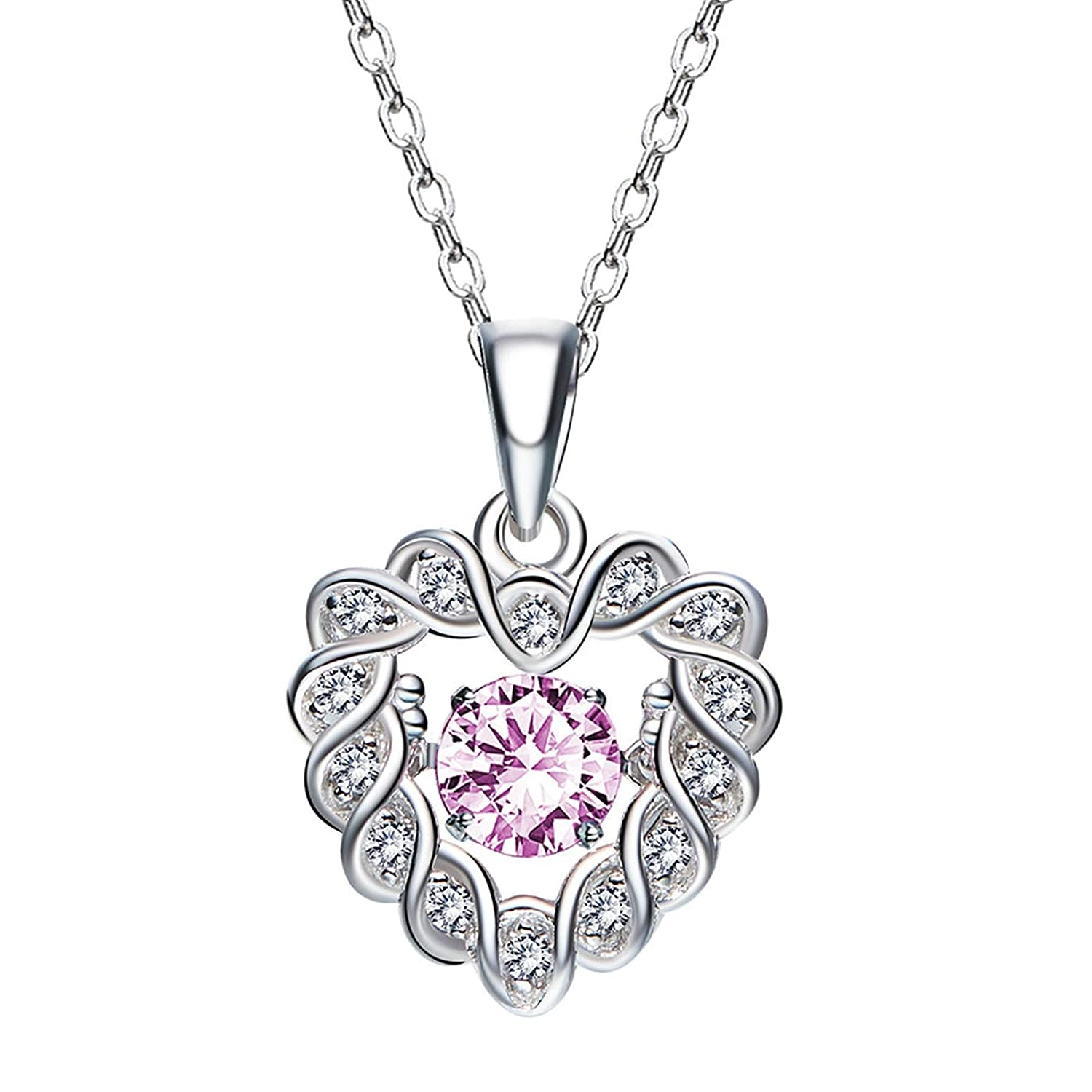 ANAZOZ Forever Love S925 Sterling Silver Cubic Zirconia Twist Heart Pendant Necklace for Her