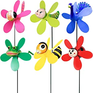Allinus Garden Pinwheels, 6 Pack Wind Spinners with Metal Stakes, Colorful Decor Pinwheels Windmills Whirligigs Kids Toys for Outdoor Indoor Garden Yard Lawn Patio Party Wedding Decorations