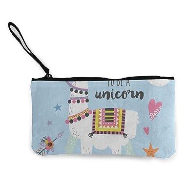 Amazon.com: Monedero de lona, diseño de unicornio Llama con ...