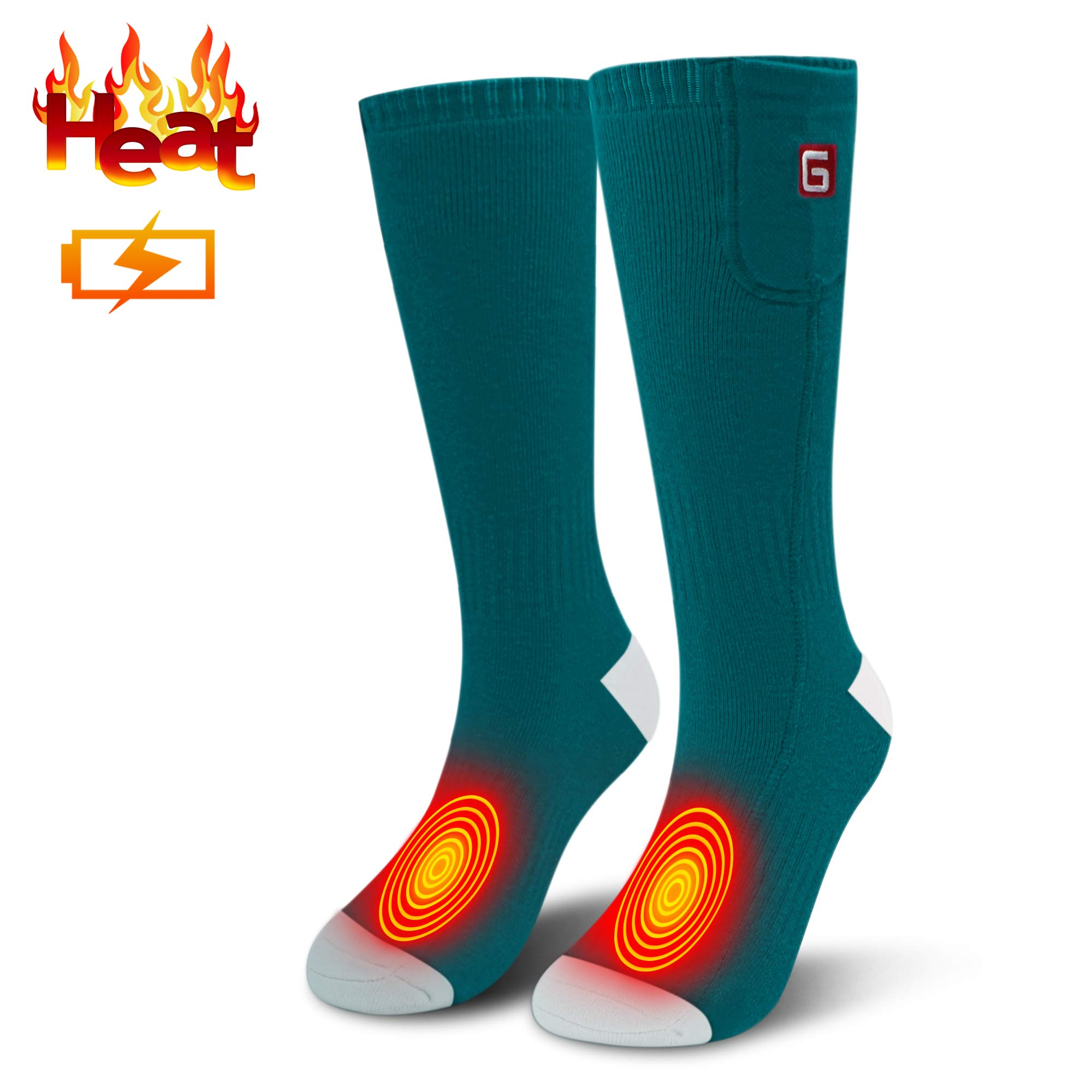 Electric Heated Socks for Men Thermal Socks Rechargeable Battery Foot Warmers Winter Ideal Presents for Men Women Perfect for Indoor Outdoor Sport Fishing/Hiking/Sleeping (Green White) by MMlove