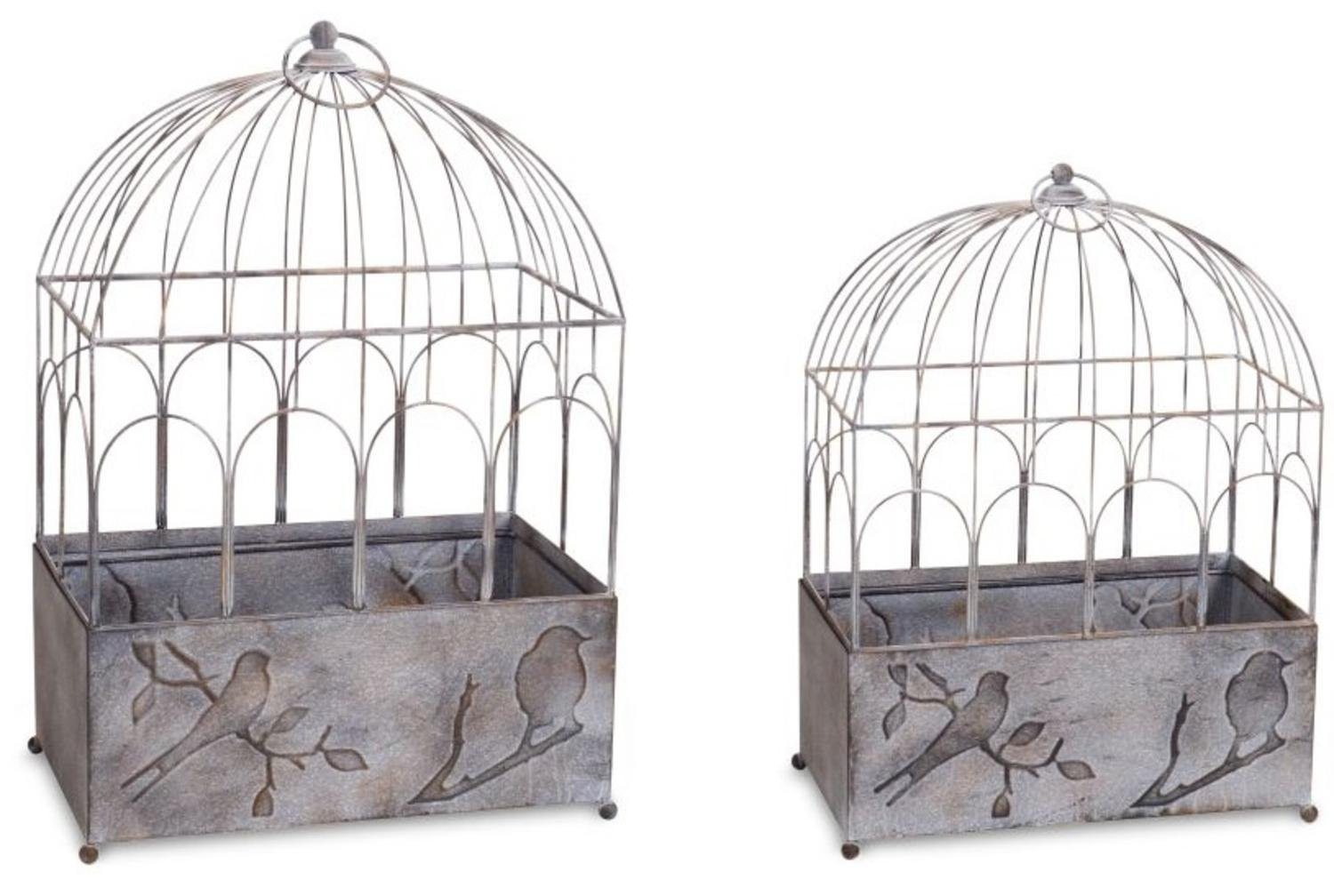 """Set of 2 Decorative Abstract Expression Gray Outdoor or Indoor Garden 63""""H and 71""""H Bird Cage"""