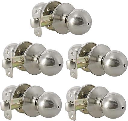 5 Pack Bedroom Bathroom Door Lock Keyless Handleset Brushed Nickel Finish Interior Privacy Door Knob Amazon Com