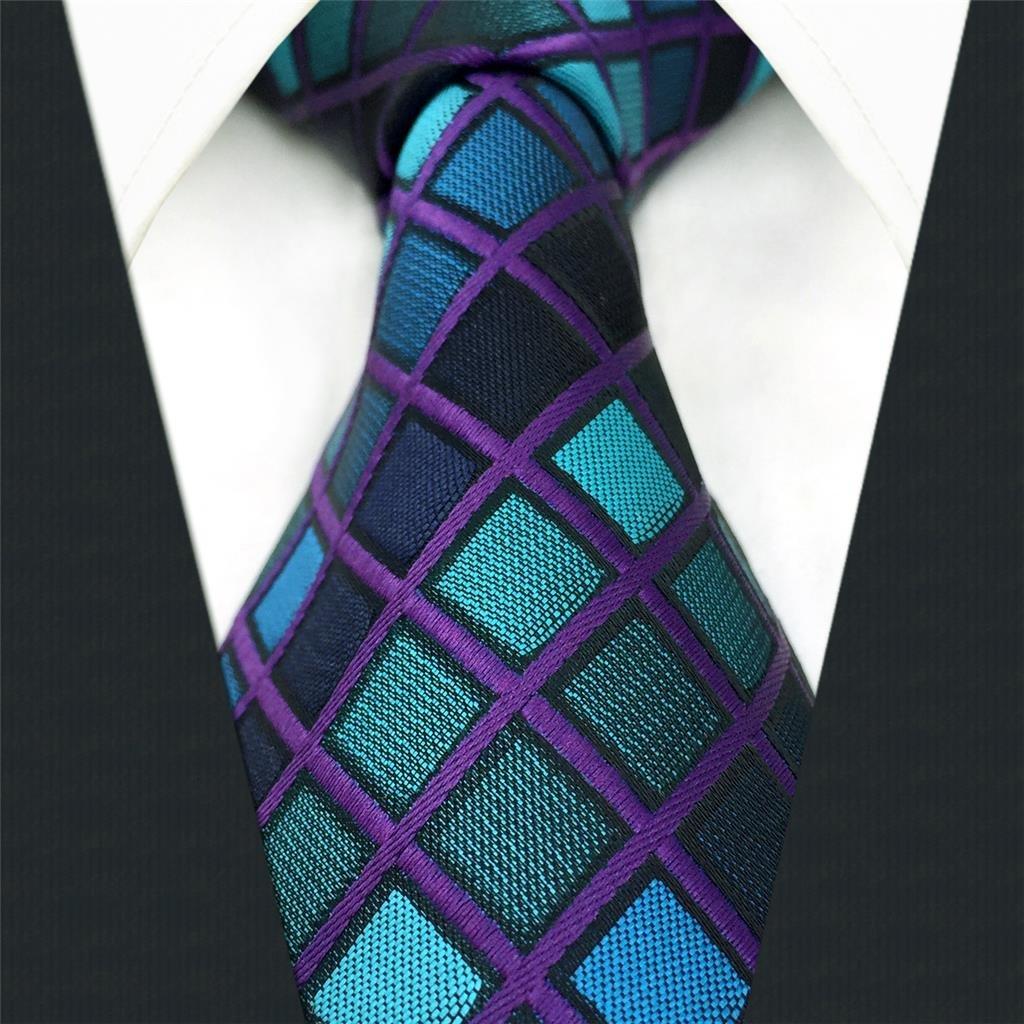 shlax/&wing Nuevo Design Azul a cuadros Corbatas Para Hombre Traje de negocios Suit Extra Largo