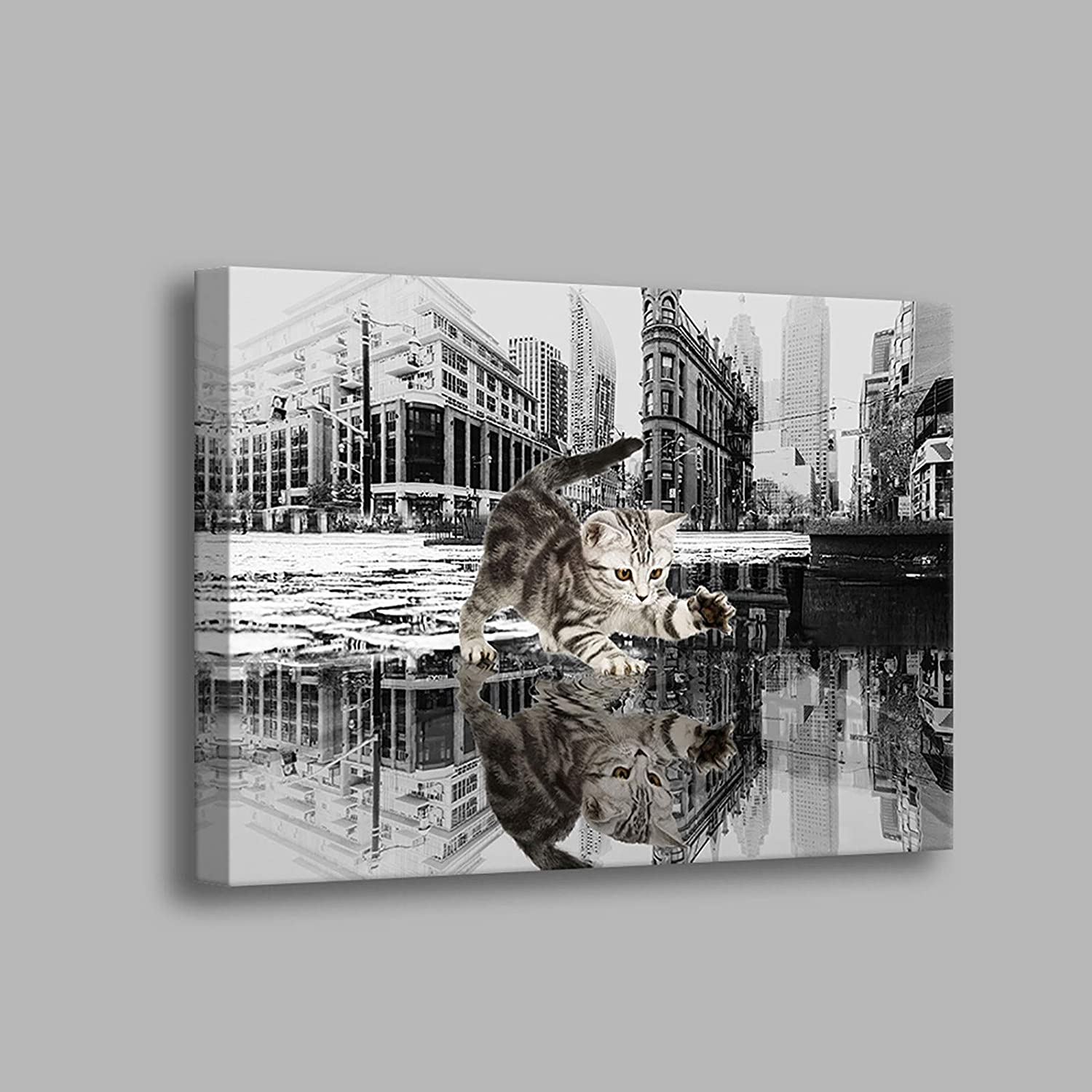 Bathroom-Decor New York City Wall Art Cat Canvas Prints Wall Decor for Bedroom Aesthetic Room Decor 12 x 16 inches Ready to Hang