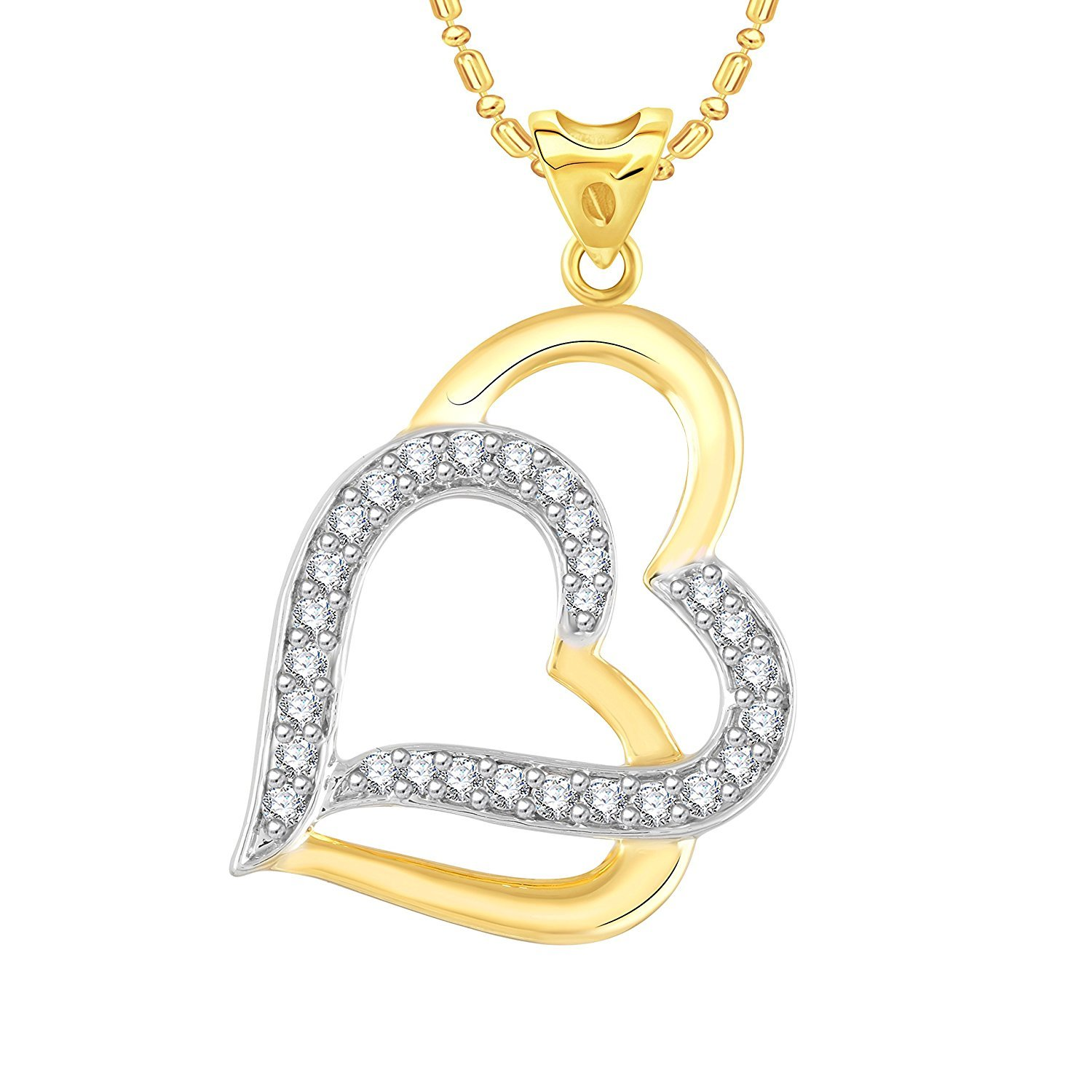 Ashley Jewels Simulated Diamond Studded Fashion Love Promise Heart Pendant Necklace in 14K Yellow Gold Plated With Box Chain