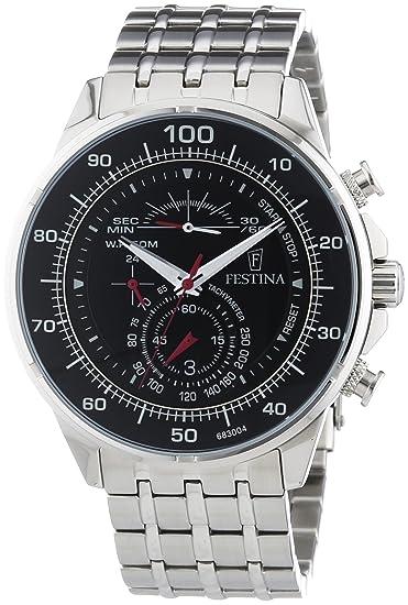 Festina - Reloj de cuarzo para hombre, correa de acero inoxidable color plateado: Amazon.es: Relojes
