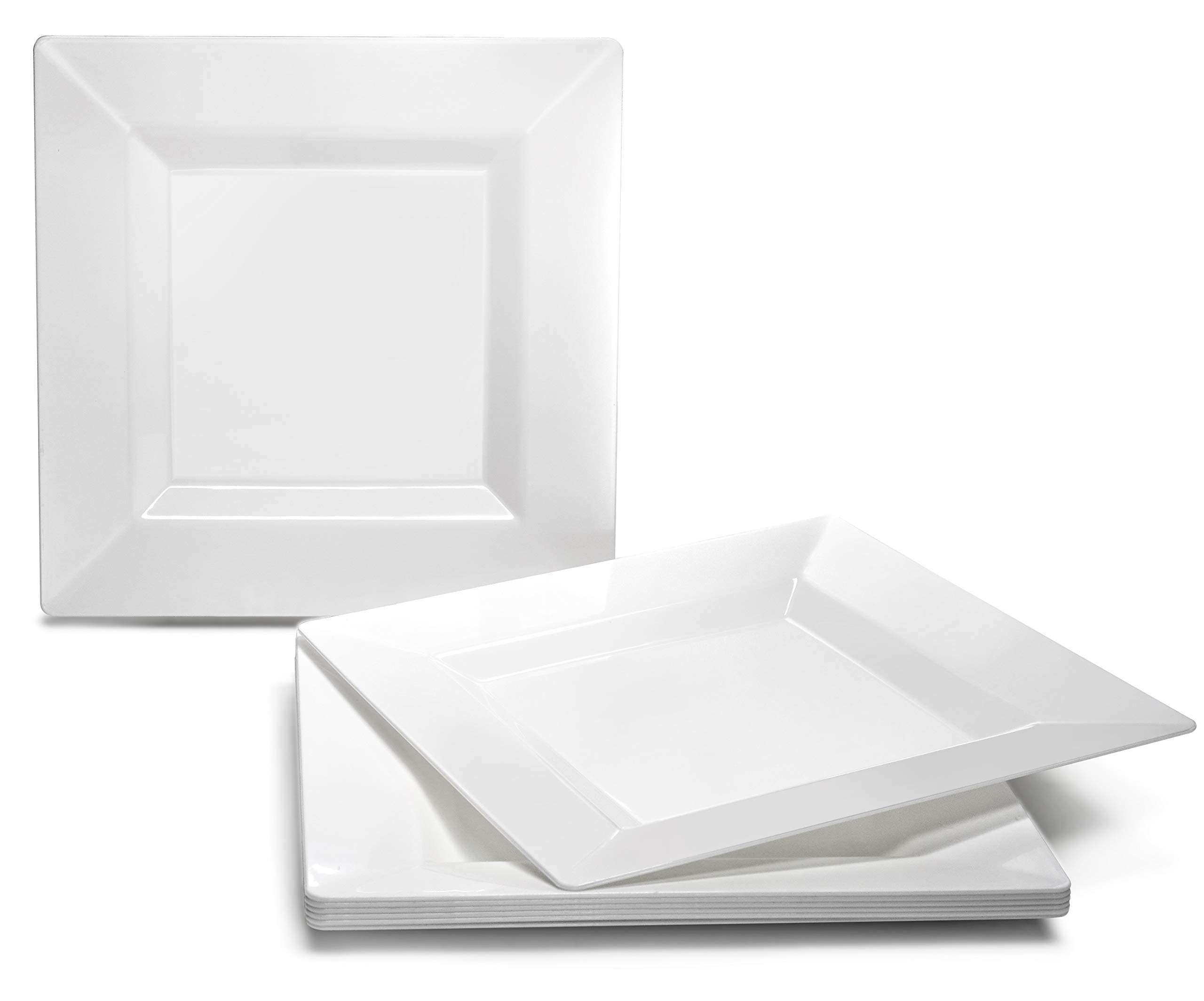 OCCASIONS 120 PACK, Heavyweight Disposable Wedding Party Plastic Plates (6.5'' Cake/Bread Plate, Square White)