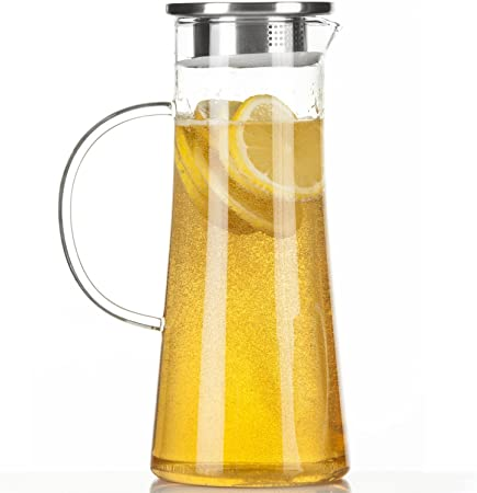 susteas 1.5 Liter 53 Unzen Glas Krug karaffe mit Deckel Eistee Krug Wasserkrug hei/ßes kaltes Wasser Eistee Wein Kaffee Milch und Saft Getr/änkekaraffe wasserkaraffe glaskaraffe