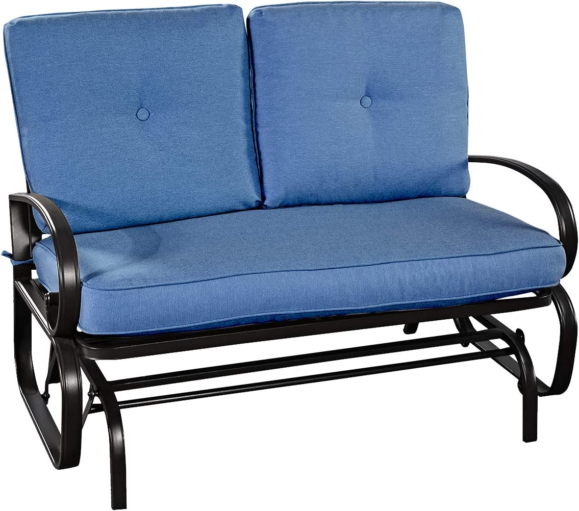Giantex Loveseat Outdoor Patio Rocking Glider Cushioned 2 Seats Steel Frame Furniture Navy