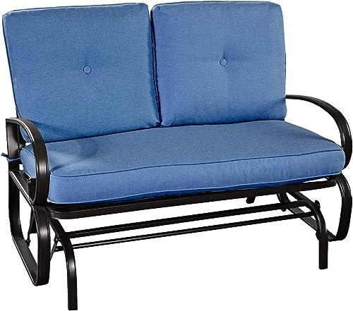 Giantex Loveseat Outdoor Patio Rocking Glider Cushioned 2 Seats Steel Frame Furniture Navy