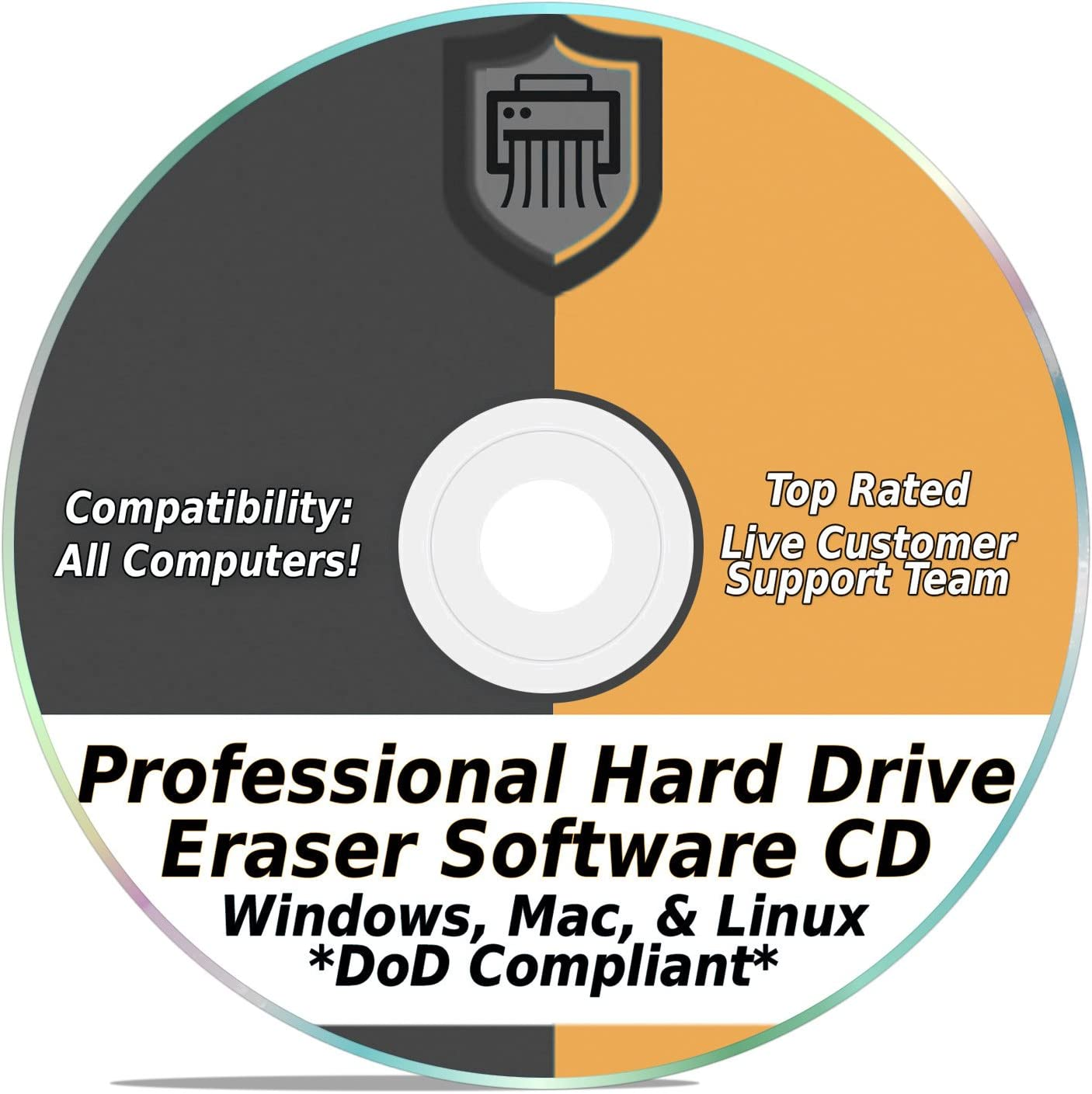 Hard Drive Eraser Software Wiper Disk Professional Secure DoD Compliant SCSI CD Tool 32 / 64Bit for Windows - Mac - Linux Laptop or Desktop
