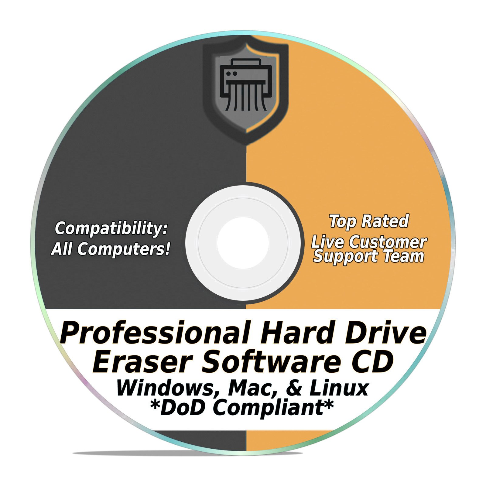 Hard Drive Eraser Software Wiper Disk Professional Secure DoD Compliant SCSI CD Tool 32 / 64Bit for Windows - Mac - Linux Laptop or Desktop by EzaLink