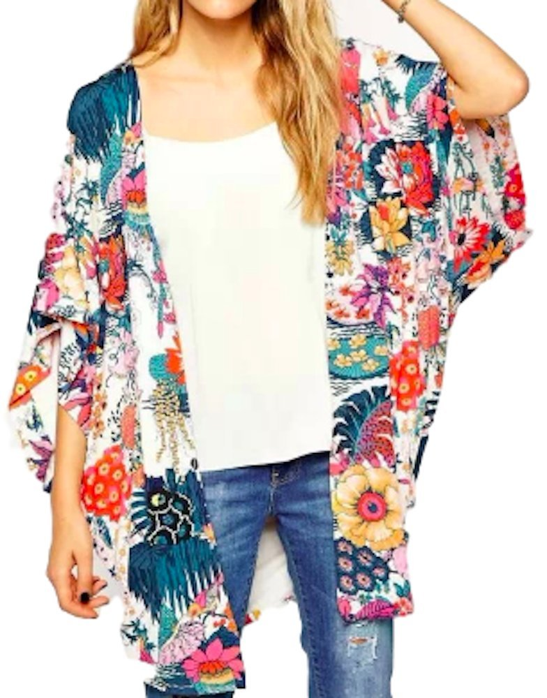 Women's Sheer Chiffon Shirt Kimono Blouse Loose Fit Long Tops Sexy Beach Cover up Floral Print Sun Protection Cardigan (XL) Lounge wear Jersey Hoodie Coat Jacket Sweatshirts Bikini Swimsuits Swimwear