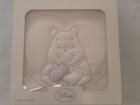 Manta Disney Winnie the pooh Tuttomio Piquet bordada para cuna y cochecito blanco 100% algodón