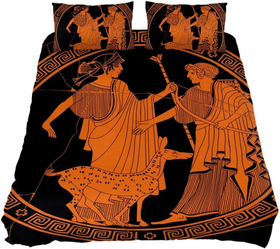 Eslifey - Juego de Funda de edredón de 3 Piezas, Estilo Griego Antiguo, Estilo Apolo y Artemis, Tejido químico, Twin 59 x 79/19 x 29 in