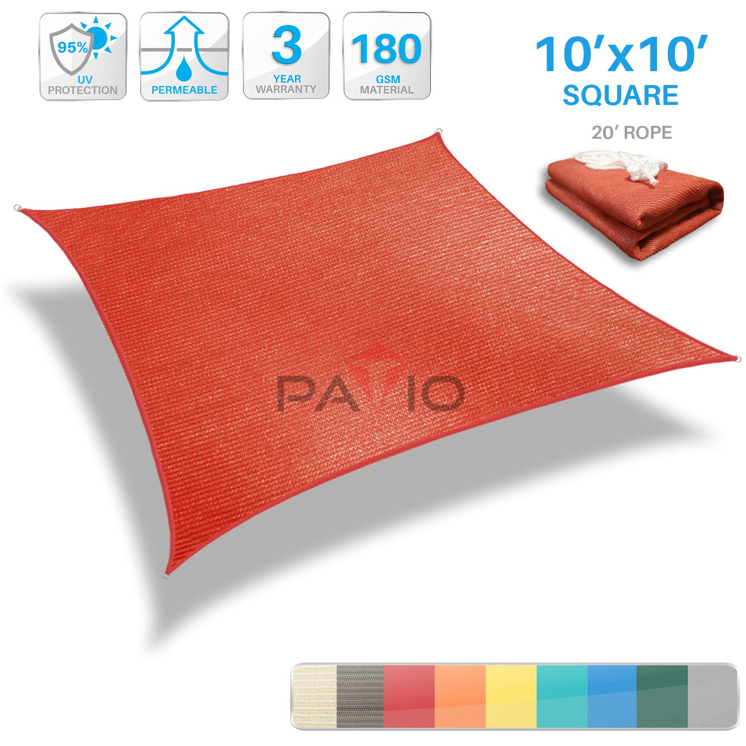 Patio Paradise 10' x 10' Red Sun Shade Sail Square Canopy - Permeable UV Block Fabric Durable Outdoor - Customized Available