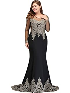 f0efdfbccc7a MisShow 2019 Plus Size Long Sleeve Mermaid Prom Evening Dresses Formal for  Women
