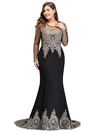 a24e4428590 Plus Size Applique Long Sleeve Mermaid Evening Dress for Women Formal US16W  Black