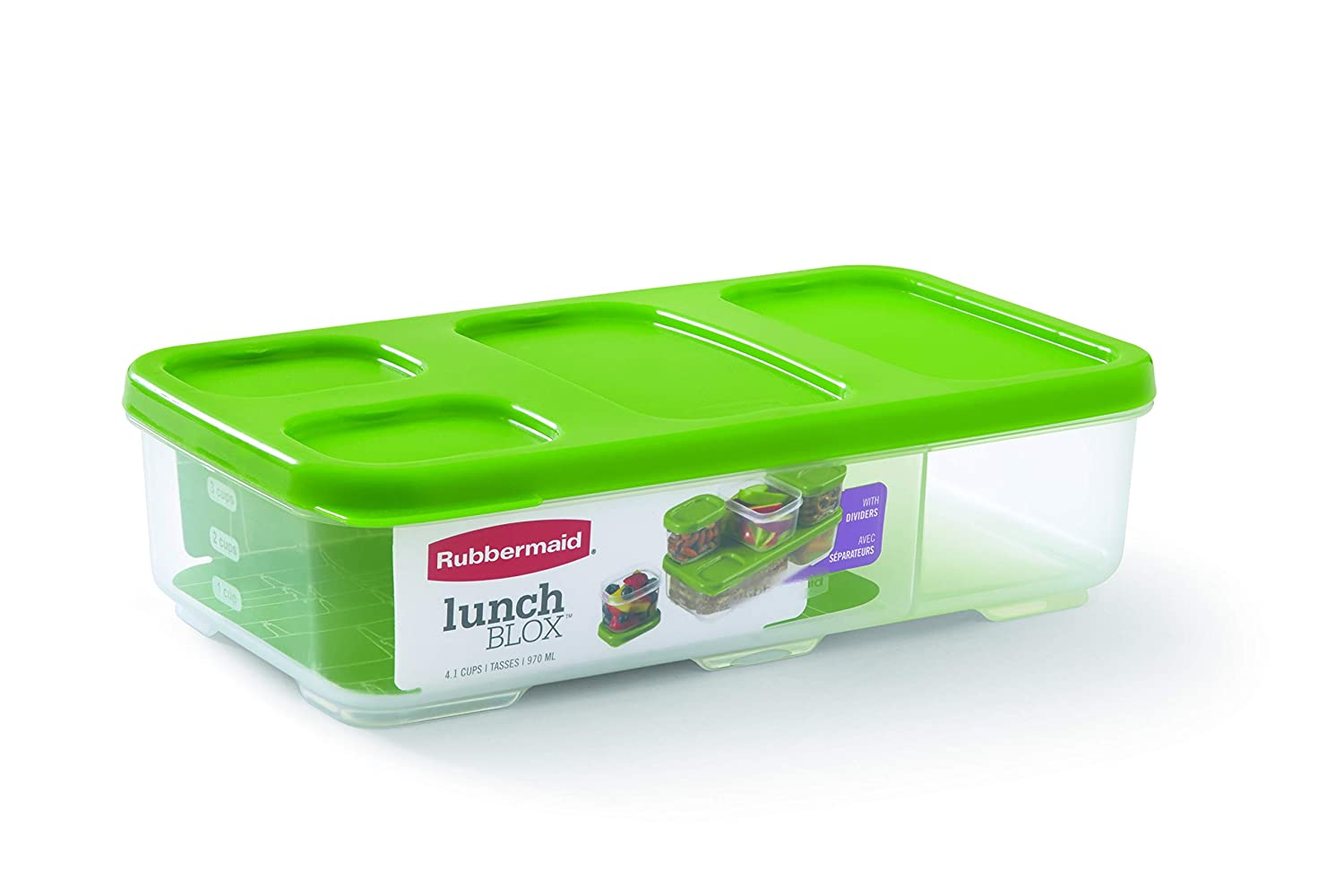 Rubbermaid Entree Container with Dividers and Lid, Green 1806178