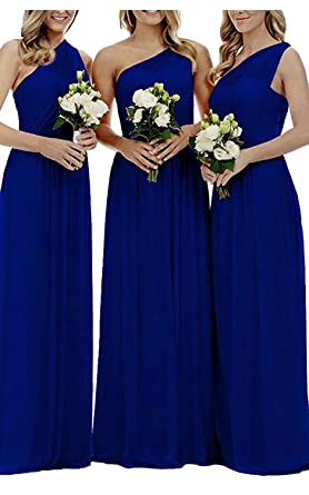 2572ca0a2ca6 FNKS CRAFT One Shoulder Bridesmaids Dresses Pleated Chiffon Maid Of Honor  Dress Wedding Guest Dress Royal