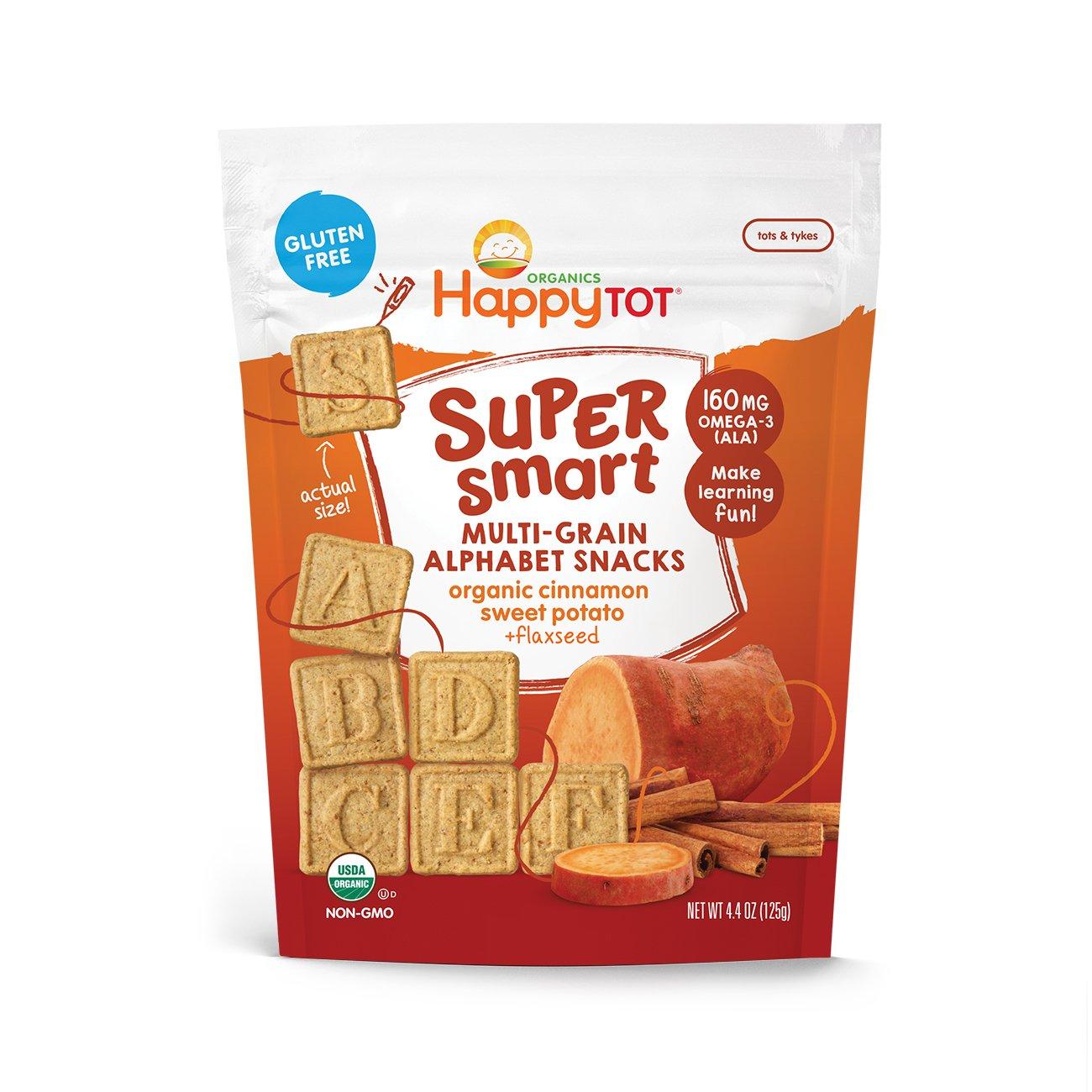 Happy Tot Super Smart Snacks, Organic Toddler Snack, Cinnamon, Sweet Potato + Flaxseed, 4.4 Ounce Bag