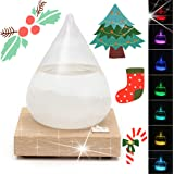 Storm Glass, Essort Weather Bottle Forecast and Storm Glass Weather Predictor Bottles, LED Multi-Colored Light Weather Forecast Storm Bottle