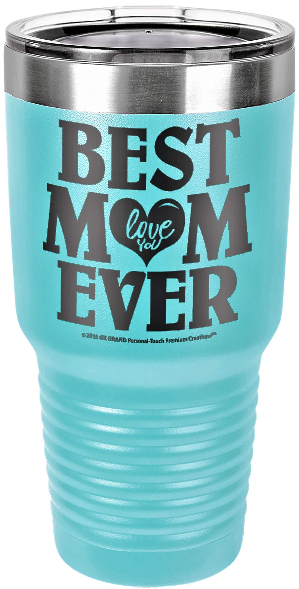 """GIFT FOR MOM – """"BEST MOM EVER - LOVE YOU"""" GK Grand Engraved Stainless Steel Vacuum Insulated Tumbler Travel Coffee Mug Hot & Cold Drink Wine Mothers Day Birthday Christmas (Sky Blue, 30oz)"""