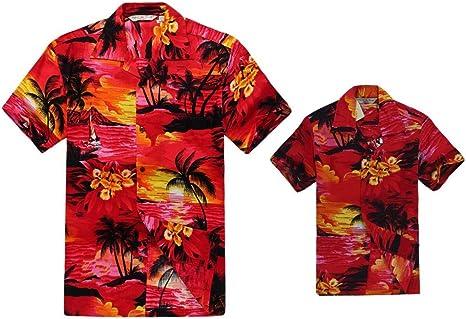 Juego Hawaiano Traje de Luau Camisa de Hombre Camisa de niño en Puesta de Sol Rojo: Amazon.es: Ropa y accesorios
